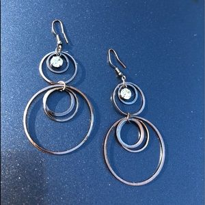 Gunmetal and diamond hoops
